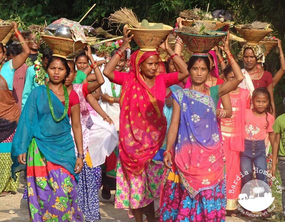Tharu women Dashain