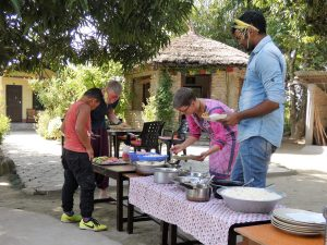 Dashain dinner Bardia Homestay Nepal